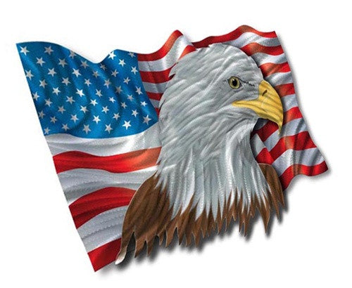 The Patriotic Eagle - Metal Wall Art Decor - Ash Carl Designs