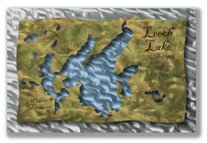 Leech Lake Map 2 - Metal Wall Art Decor - Ash Carl Designs