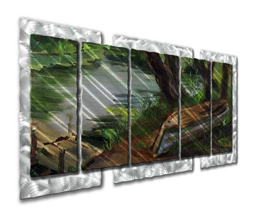 Boat by the Dock - Metal Wall Art Decor - Ash Carl Designs