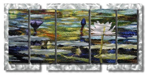 Water Lilies - Abstract Contemporary Steel Metal Welded Wall Art Decor - Ash Carl Designs