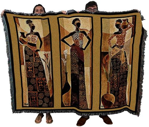 Yellow African Women Woven Textile Blanket