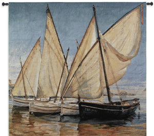 Nautical Sailboats in Water Textile Tapestry