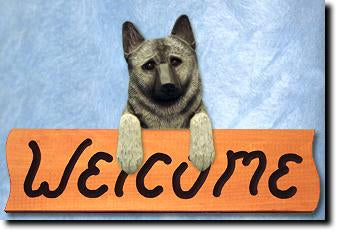 Norwegian Elkhound Dog Wood Welcome Sign
