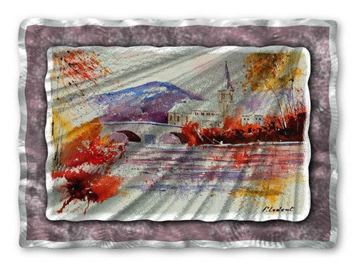 Bridge to the Church - Metal Wall Art Decor - Pol Ledent