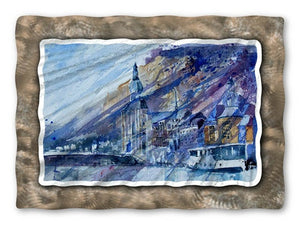 Blue Village - Metal Wall Art Decor - Pol Ledent