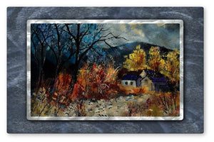 Wooded Cottage - Metal Wall Art Decor - Pol Ledent