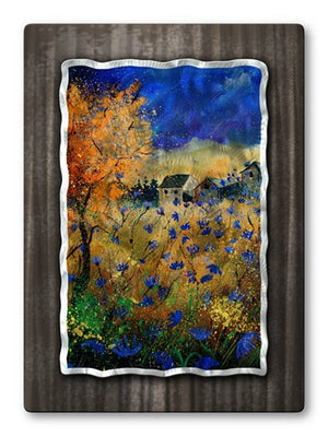 Blue Flowers - Metal Wall Art Decor - Pol Ledent