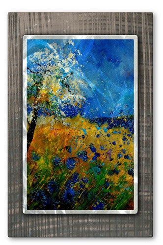 Blue Skies, Blue Flowers - Metal Wall Art Decor - Pol Ledent