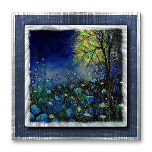 Cerulean Flowers - Metal Wall Art Decor - Pol Ledent