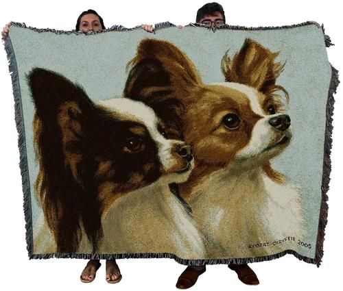 Papillon Small Dog Woven Throw Blanket
