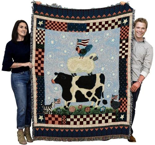 Patriotic Animals Woven Throw Blanket