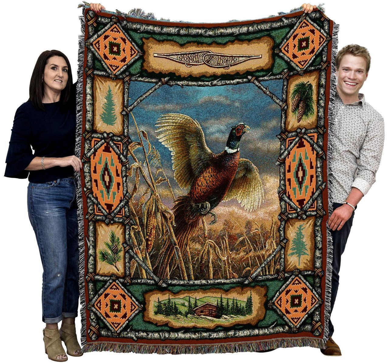 Large Bird Woven Textile Afghan