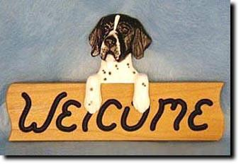 English Pointer Dog Wood Welcome Sign