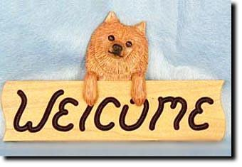Pomeranian Dog Wood Welcome Sign