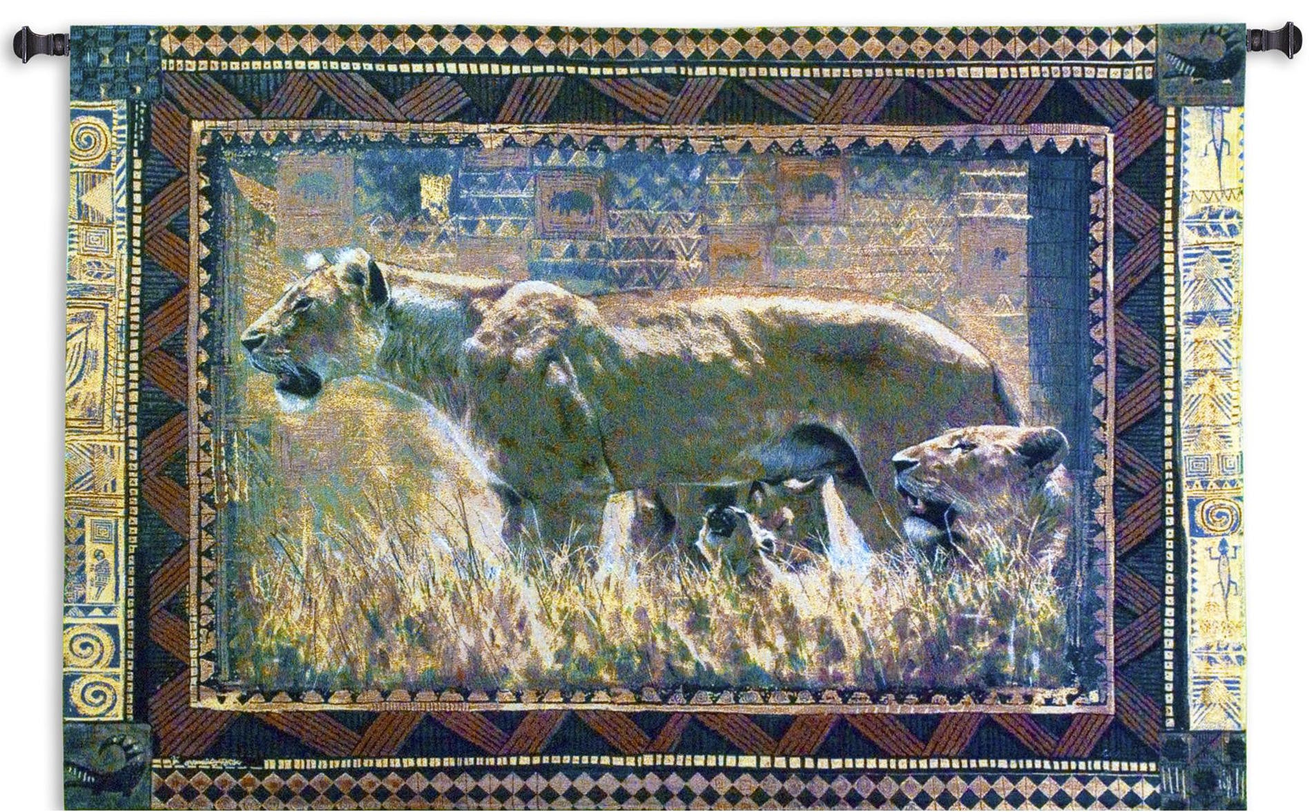 Protecting Her Lion Cubs Woven Textile Hanging