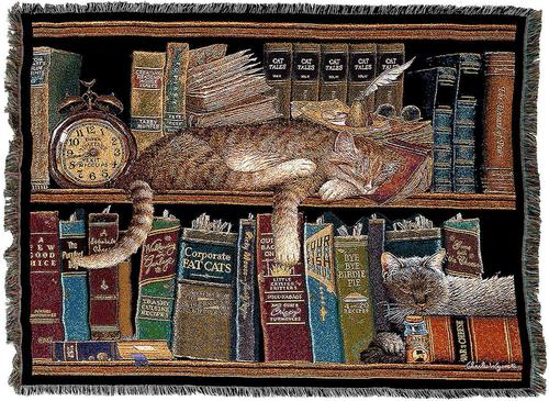 Remington Cat Feline Tapestry Throw