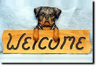 Rottweiler Dog Wood Welcome Sign