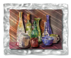 Colorful Bottles - Metal Wall Art Decor - Ash Carl Designs