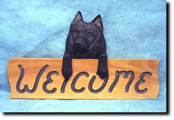 Schipperke Dog Wood Welcome Sign