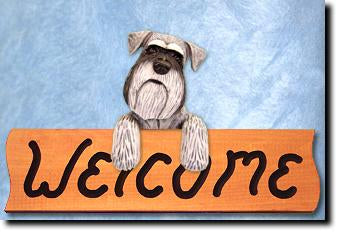 Schnauzer Natural Dog Wood Welcome Sign