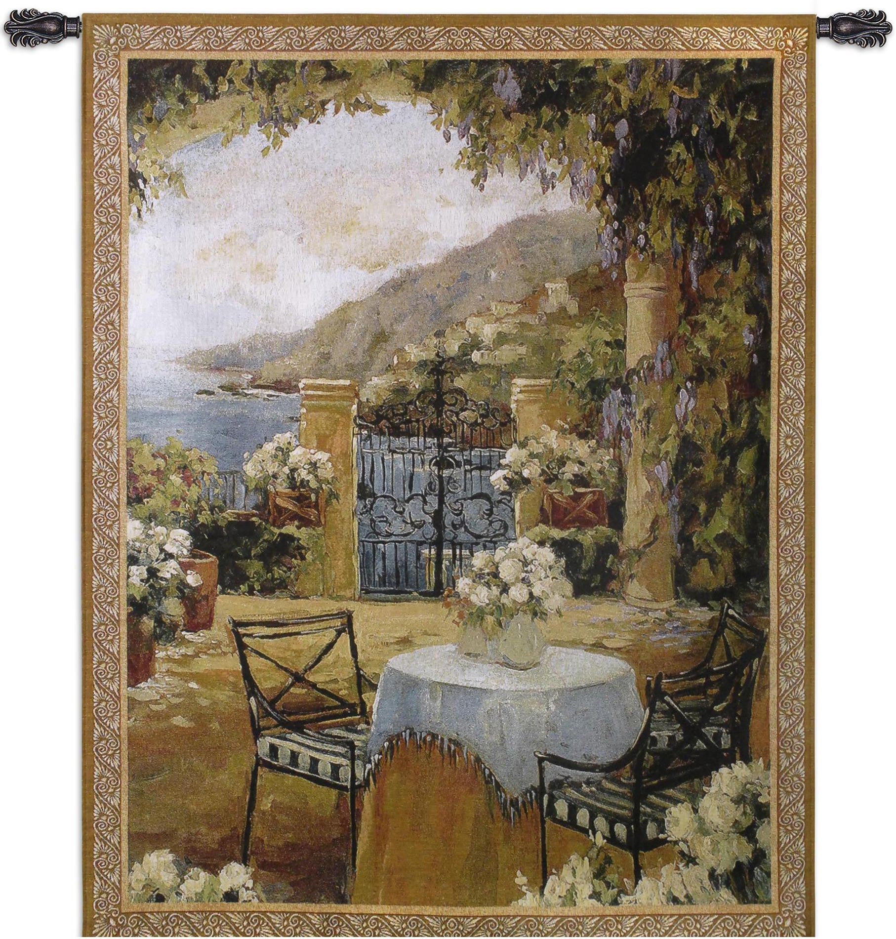 Seaside Terrace Table Set for Two Woven Textile Artwork