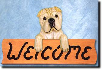Shar Pei Dog Wood Welcome Sign