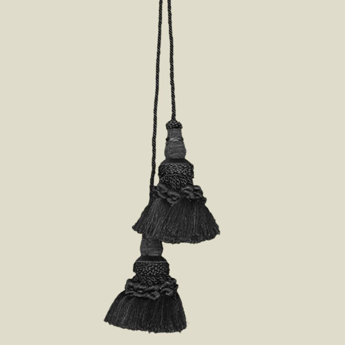 Double Key Chair Tie Black Tapestry Tassel