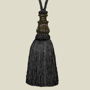 Metal Bell Tie Back Black Tapestry Tassel
