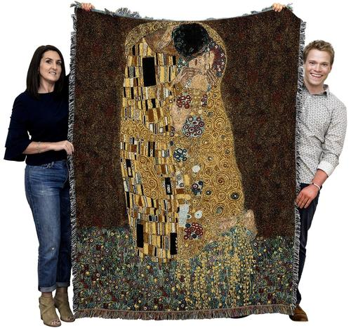 Klimt The Kiss Woven Tapestry Throw Blanket