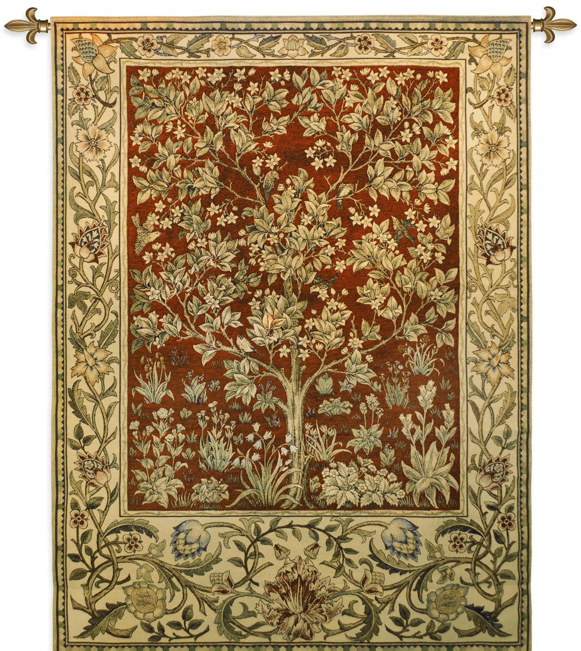 Red Tree of Life Textile Wall Hanging