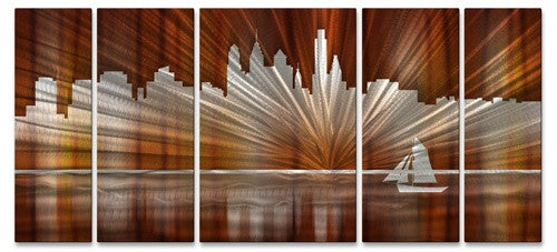 Warm Philadelphia Skyline - Metal Wall Art Decor - Ash Carl Designs