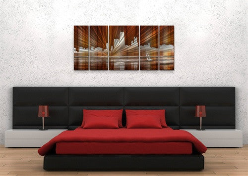 Warm Chicago Skyline - Metal Wall Art Decor - Ash Carl Designs