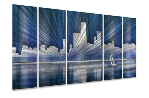 Cool Chicago Skyline - Metal Wall Art Decor - Ash Carl Designs