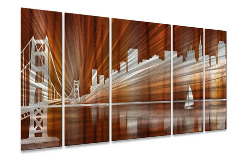 Warm San Francisco Skyline - Metal Wall Art Decor - Ash Carl Designs