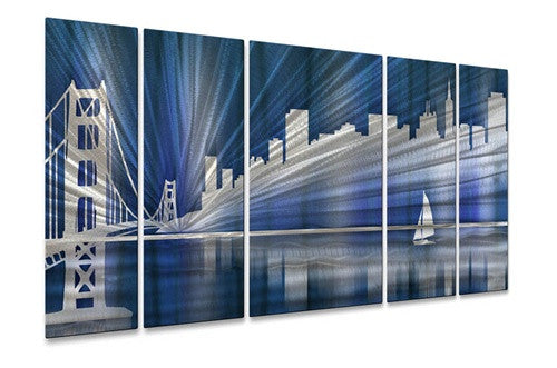 Cool San Francisco Skyline - Metal Wall Art Decor - Ash Carl Designs