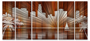 Warm Los Angeles Skyline - Metal Wall Art Decor - Ash Carl Designs