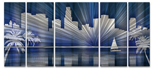 Cool Los Angeles Skyline - Metal Wall Art Decor - Ash Carl Designs