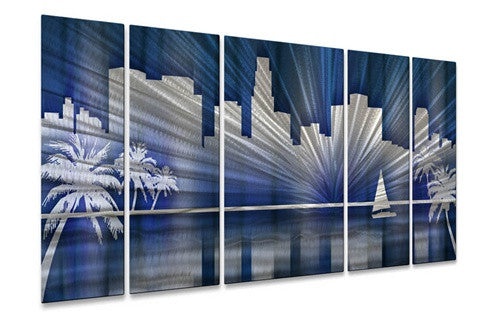 Cool Los Angeles Skyline - Contemporary Metal Wall Hanging - Ash Carl Designs
