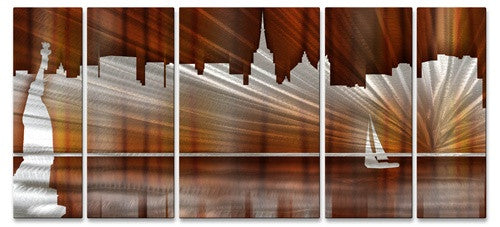 Warm New York City Skyline - Metal Wall Art Decor - Ash Carl Designs