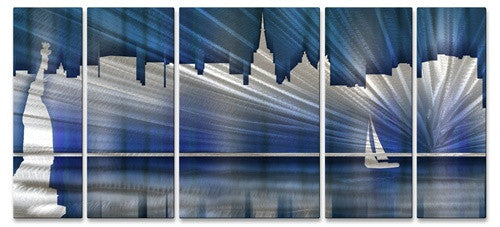Cool New York City Skyline - Metal Wall Art Decor - Ash Carl Designs