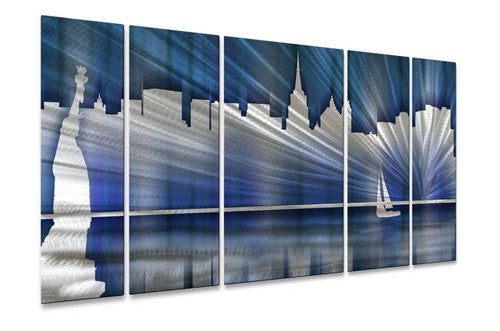 Cool New York City Skyline - Contemporary Metal Wall Hanging - Ash Carl Designs