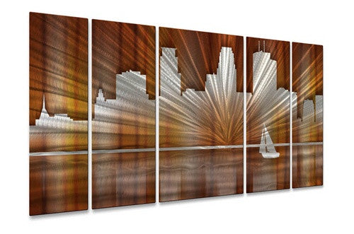 Warm Minneapolis Skyline - Metal Wall Art Decor - Ash Carl Designs