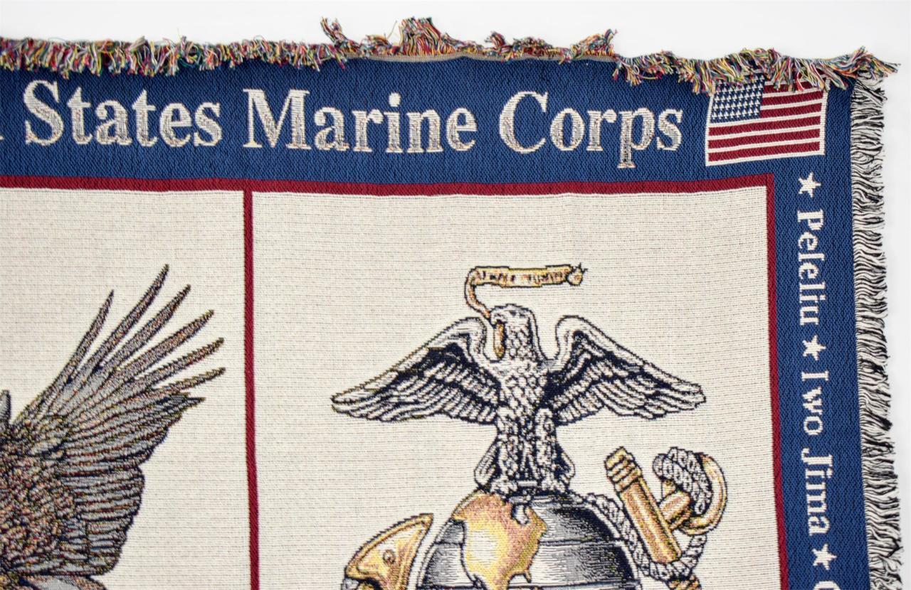 US Marine Corps Woven Afghan Throw