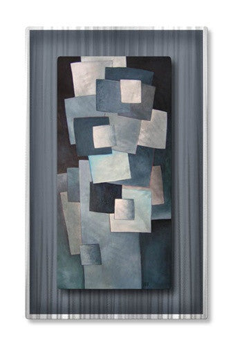 Gray Squares - Metal Wall Art Decor - Lili Vanderlaan