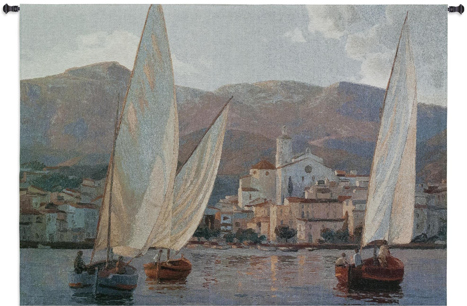 Velas En Cadaques Ship Harbor Wall Tapestry