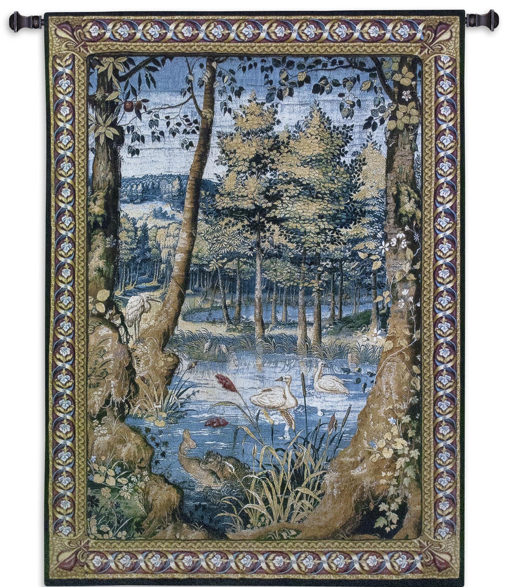Verdure with Animals Woven Wall Hanging