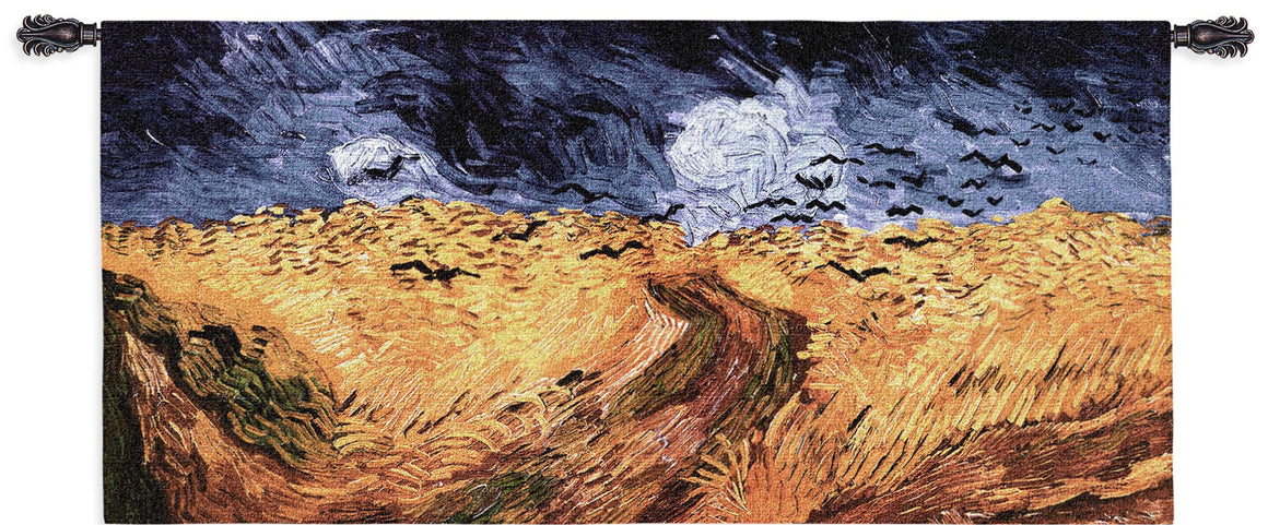 van gogh wheat crows blue sky tapestries