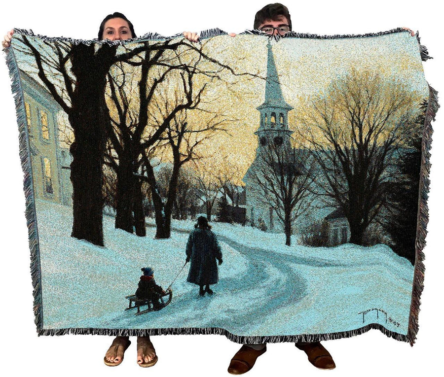 Winters Eve Throw Blanket Textile Art