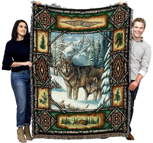 Large Brown Wolf Wildlife Textile Accent