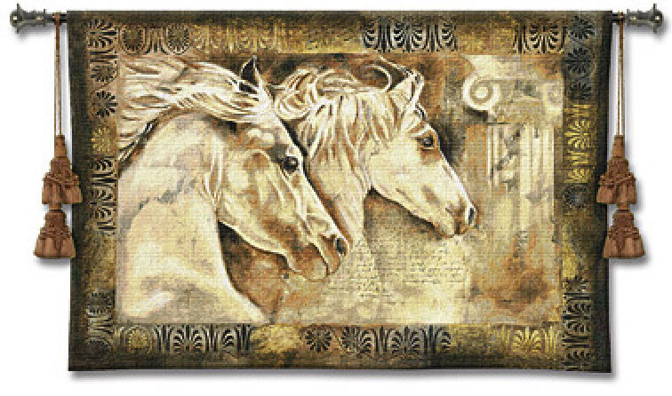 Horse Equine Woven Textile Tapestry